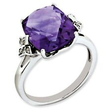 Sterling Silver Square Faceted Amethyst & .05 CT Diamond Ring Size 5 to 10