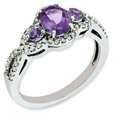 Sterling Silver Three Stone Amethyst & .25 CT Diamond Ring 2.48 gr Size 5 to 10