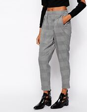 BNWOT Monki tweed checked tailored high waisted cigarette trousers XS 8 10
