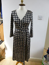BNWT Pure Collection pure silk jersey knit beige/black print dress size  10