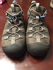 Men's Keen Shoes Grey Brown Blue Leather Size 11 Lightly Used Steel Toe