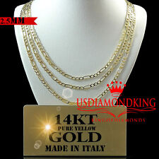 14K REAL HEAVY YELLOW ITALIAN GOLD FIGARO LINK CHAIN NECKLACE 2.5MM 16''~20''