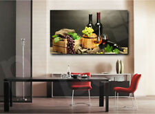 Fruit Basket and Wine Bottles Canvas Art Poster Print Kitchen Home Wall Decor
