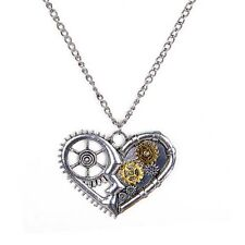 Steampunk Vintage gears Heart Owl Thor Hammer Angel wing Necklace & Pendant