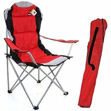 Professional red & grey heavy duty deluxe padded folding steel camping