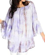 NEW Indigo Thread Co. Tie-Dyed Woven Ruffle Trimmed Peasant Top XS S M L 1X