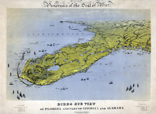 1861 Panoramic Map of Florida by John Bachmann