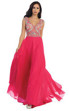 Elegant Prom Long Sleeveless Pleated Chiffon Embellished Top Formal Pageant Gown