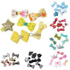 6Pcs Fashion Grosgrain Ribbon Bow Hair Clips Pin Aligator Clips Flower Baby/Girl