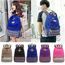 Womens Girls Canvas Shoulder School Bag Bookbag Backpack Travel Rucksack Unisex