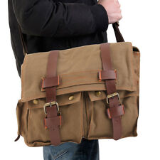 Men's Vintage Canvas Leather School Military Shoulder Messenger Bag New ZP
