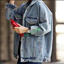 Fashion Womens Retro Oversize Cowboy Wash Denim Loose Casual Jacket Jeans Coat