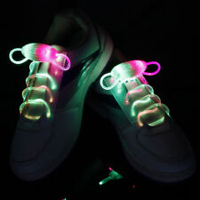 2Pcs LED Shoelaces Flash Light Up Glow Stick Strap Shoe Laces Disco Party Hot