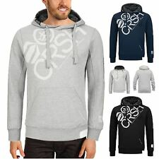 Mens Crosshatch Sherpa Fleece Lined Hood Top Hooded Sweatshirt Winter Pullover