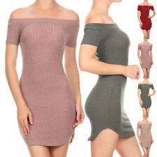 USA Women Sexy Clubwear Party Ribbed Knit Off Shoulder Fitted Mini Dress