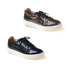 NEW Ozwear UGG Maegan Zip Lace Slip On Fashion Sneaker Embossed Leather Ladies