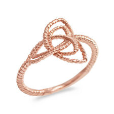 Fine 14k Rose Gold Rope Triquetra Celtic Knot Ring