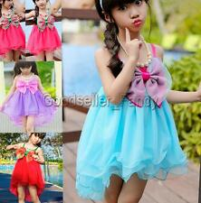 Girl Kids Princess Tutu Dress Big Bow Party Tulle Layers Summer Fancy Skirts