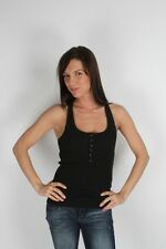 Parasuco Black Button Down Ladies Fitted Ribbed Tank Top 8-TANK $47 CAD NWT