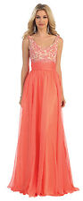 Elegant Long Sleeveless Lace Applique Pleated Chiffon Prom Formal Evening Dress