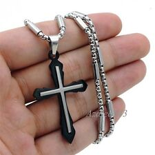 Mens Boys Silver Black Cross Stainless Steel Pendant tube box Chain Necklace Set