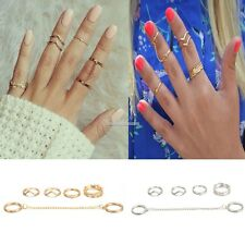 6pcs / Set Gold Urban Rings Crystal Above Knuckle stacking Band Midi Mid SH
