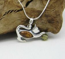 NATURAL BALTIC AMBER STERLING SILVER 925  PENDANT CHAIN NECKLACE Certified & BOX