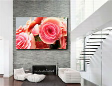 Pink Roses Flowers Rose Flower For Home Wall Decor Canvas Art Print