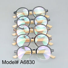 A6830 Round unisex eyewear bamboo temple RX optical frames myopia spectacles