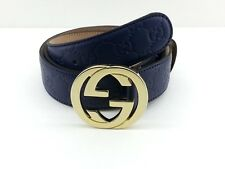 Authentic Blue Gucci Guccissima Belt w/ Gold GG Buckle NWT 114876 AA61G