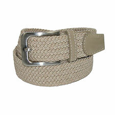 New CTM Mens Elastic Braided Stretch Belt with Silver Buckle