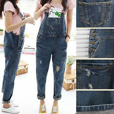 Women's Washed Denim Casual Loose Jumpsuit Hole Jeans Romper Overall Bib Pants