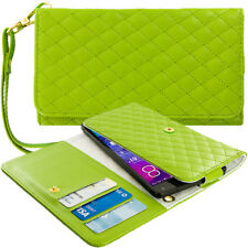 Green Designer Luxury Wallet Flip Case Pouch Holder With Strap For Phones