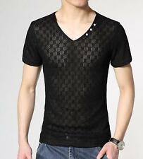 Fashion Mens Summer Mesh Hollw Out Casual Korea Slim Fit V-neck T-shirts Plus SZ