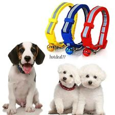 NEW Pet Dog Puppy Cat Kitten Soft Glossy Reflective Collar Safety Buckle & Bell