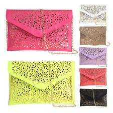 Womens Envelope Clutch Chain Hollow Out Purse Lady Handbag Shoulder Evening Bag