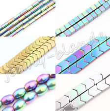 Fashion No Magnetic Hematite Gemstone Faceted Tube Olive Cube Bead 4/6/8mm DIY
