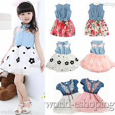 NEW Kids Girls Baby Denim Tutu Dress Princess Party School Cute Tulle Prom Dress