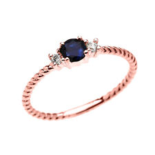 14k Rose Gold Dainty Solitaire Sapphire & White Topaz Rope Stackable Ring