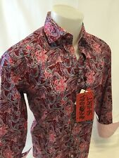 Mens INSOMNIA By MANZINI Button Down Dress Shirt PAISLEY Designer PINK IN59 NWT