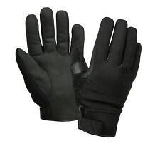 Black Synthetic Leather Gloves Cold Weather Cut Resistant Military Police Biker
