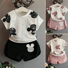 Kids Clothes Baby Girls Mickey Mouse Cotton 2pcs T-Shirt Tops&Shorts Outfits Set