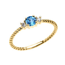 10k Yellow Gold Dainty Solitaire Blue Topaz & White Topaz Rope Stackable Ring