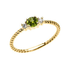 14k Yellow Gold Dainty Solitaire Peridot & White Topaz Rope Stackable Ring