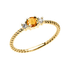 10k Yellow Gold Dainty Solitaire Citrine & White Topaz Rope Stackable Ring