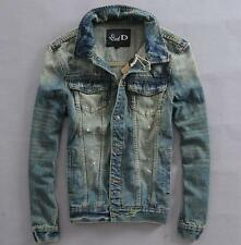 Hot Fashion Mens Retro Classic Wash Denim Korean Slim Cowboy Top Jean Jacket 3XL