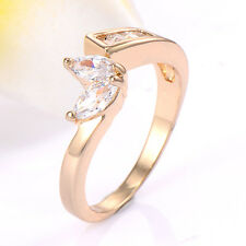 14k GF gold filled crystal love rings fashion lucky ring size 6.25/7.25