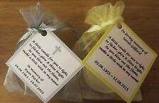 MEMORIAL CANDLES ,REMEMBRANCE CANDLES, FUNERAL CANDLES, - PERSONALISED FAVOURS