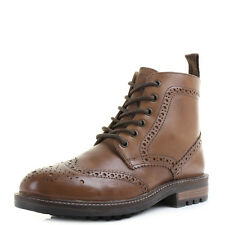 Mens Devlin Tan Brown Brogue Lace Up Military Real Leather Boots Shu Size