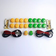 New 2 Player Arcade DIY Kits Parts Push Buttons & PC Encoder To Sanwa Stick MAME